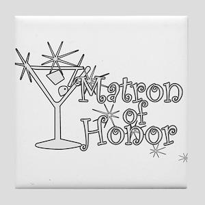 White C Martini Matron Honor Tile Coaster