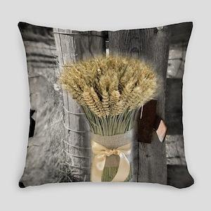 farm fence wheat bouquet Everyday Pillow