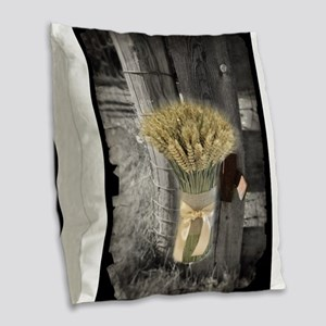 farm fence wheat bouquet Burlap Throw Pillow