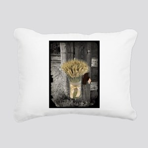 farm fence wheat bouquet Rectangular Canvas Pillow