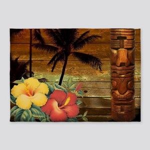 passion flower Palm tree hawaii 5'x7'Area Rug