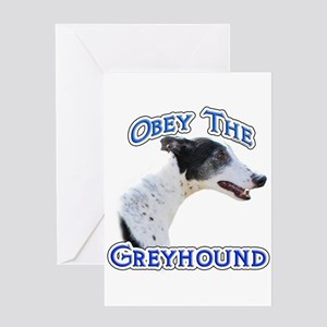 GreyhoundObey Greeting Card