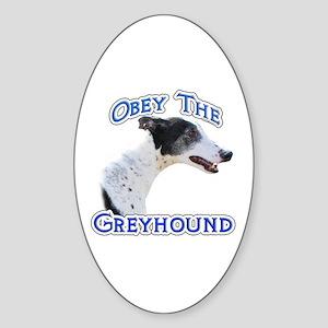 GreyhoundObey Oval Sticker