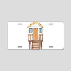 beach hut Aluminum License Plate