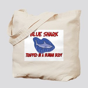 Blue Shark trapped in a human body Tote Bag