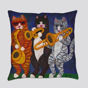 Cats Playing Brass Instruments Everyday Pillow