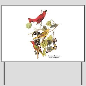 Audubon Summer Tanager Birds Yard Sign