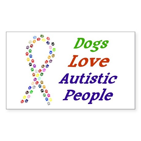 Dogs Love Autistics Rectangle Sticker