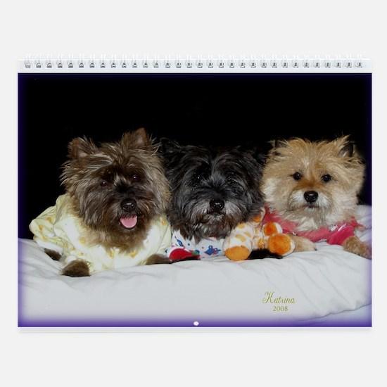 Sleepy Cairn Terriers Wall Calendar