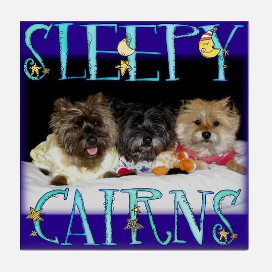 Sleepy Cairn Terriers Tile Coaster