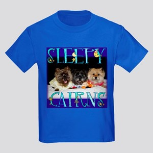Sleepy Cairn Terriers Kids Dark T-Shirt