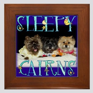 Sleepy Cairn Terriers Framed Tile