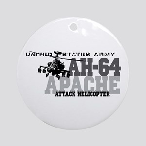 Army Apache Helicopter Ornament (Round)