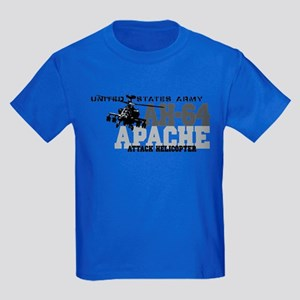 Army Apache Helicopter Kids Dark T-Shirt