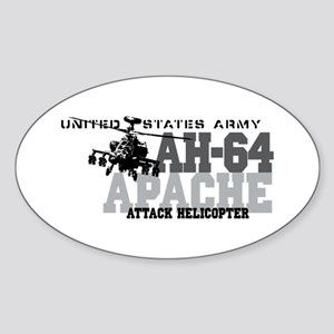 Army Apache Helicopter Sticker (Oval)