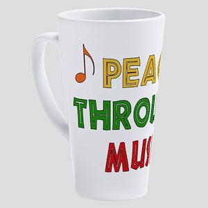 Peace Through Music 17 oz Latte Mug