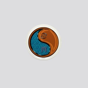 Cancer & Wood Rooster Mini Button