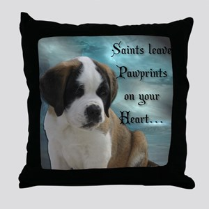 St. Bernard Puppy Throw Pillow