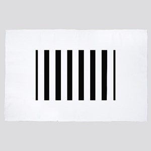 Black and White Striped 4' x 6' Rug