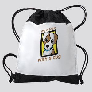 life is better with a dog Drawstring Bag