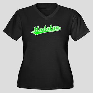 Retro Madalyn (Green) Women's Plus Size V-Neck Dar