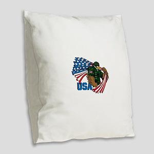 USA Burlap Throw Pillow