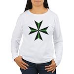 Green Maltese Cross Women's Long Sleeve T-Shirt