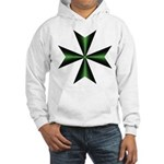 Green Maltese Cross Hooded Sweatshirt