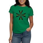 Green Maltese Cross Women's Dark T-Shirt