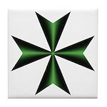 Green Maltese Cross Tile Coaster