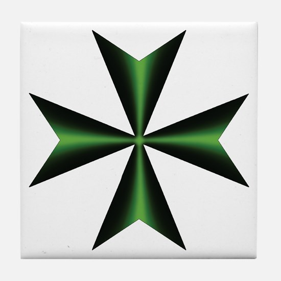 Green Maltese Cross Tile Coaster