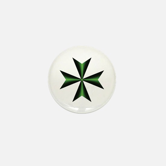 Green Maltese Cross Mini Button