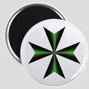 Green Maltese Cross Magnet