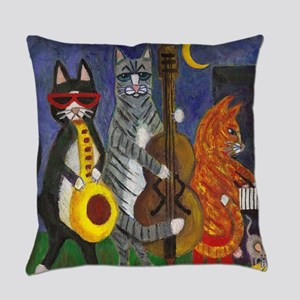 Cats Playing Jazz Music Everyday Pillow