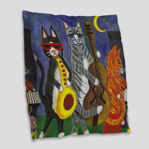 Cats Playing Jazz Music Burlap Throw Pillow