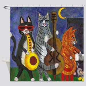 Cats Playing Jazz Music Shower Curtain