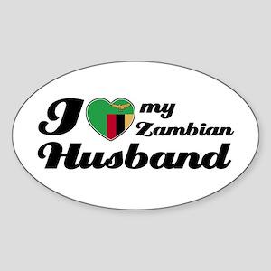 I love my Zambian Husband Oval Sticker