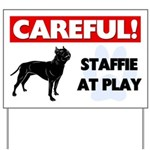 Staffordshire Bull Terrier At Play Yard Sign