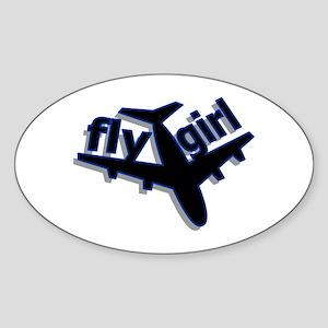 Fly Girl Oval Sticker