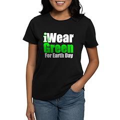 I Wear Green Earth Day Women's Dark T-Shirt