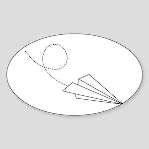Paper Plane Oval Sticker