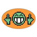 Double flip off guy Oval Sticker