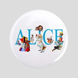 """ALICE & FRIENDS IN WONDERLAND 3.5"""" Button"""