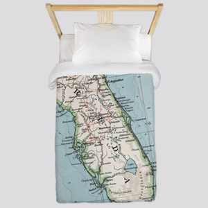 Vintage Map of Florida (1900) Twin Duvet Cover