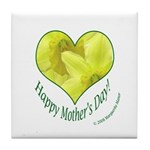Daffodils in Heart, Mother's Day Tile Coaster