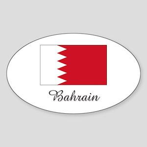 Bahrain Flag Oval Sticker
