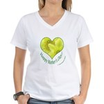 Daffodils in Heart, Mother's Day Women's V-Neck T-