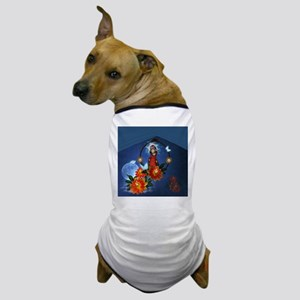 Funny cute parrot with flowers Dog T-Shirt