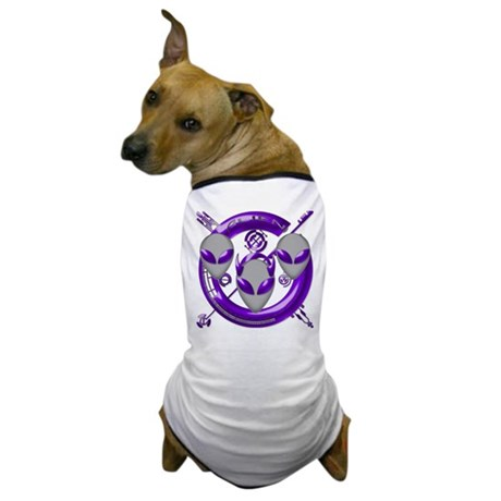 Tri-Alien Design Purple Dog T-Shirt