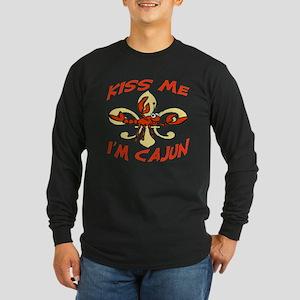 Kiss Me I'm Cajun Too Long Sleeve Dark T-Shirt